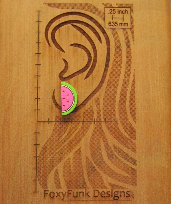 Mini Summer Watermelon Stud Earring on wood background etched with ear and measurements to show size