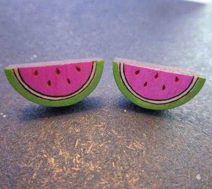 2 Mini Summer Watermelon Stud Earrings facing forward to show detail