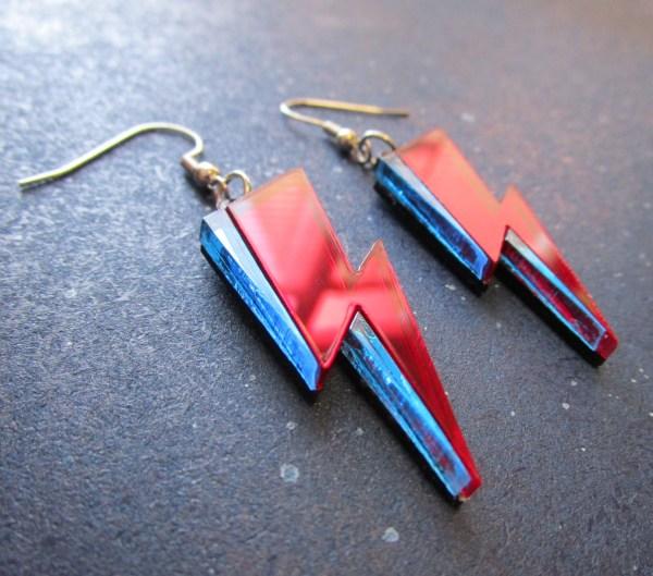 side view of Ziggy Stardust lightning earrings