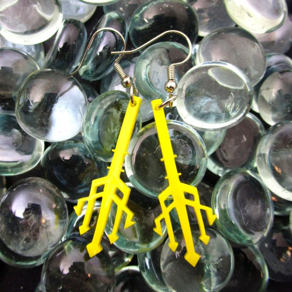 3 pointed trident spear yellow acrylic on glass beads