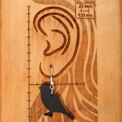black canary earring hanging on ear size chart