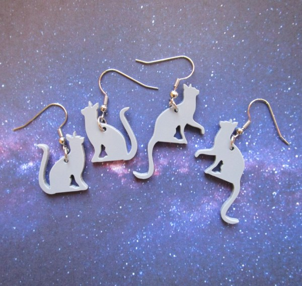gray cat silhouette earrings on french style hooks