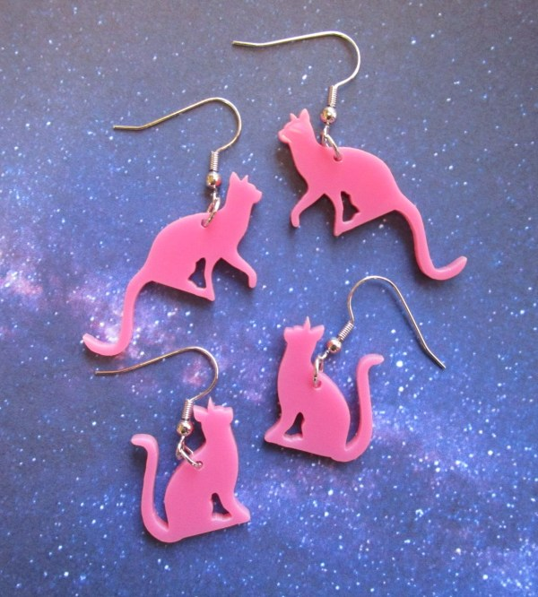 pink cat silhouette earrings on french style hooks