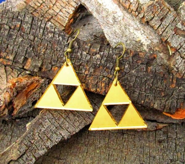 designer triforce golden triangle dangle statement cosplay earrings