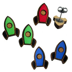 little wood hand painted wooden laser cut rocket rocketship ship outer space spaceship stud earrings jewelry