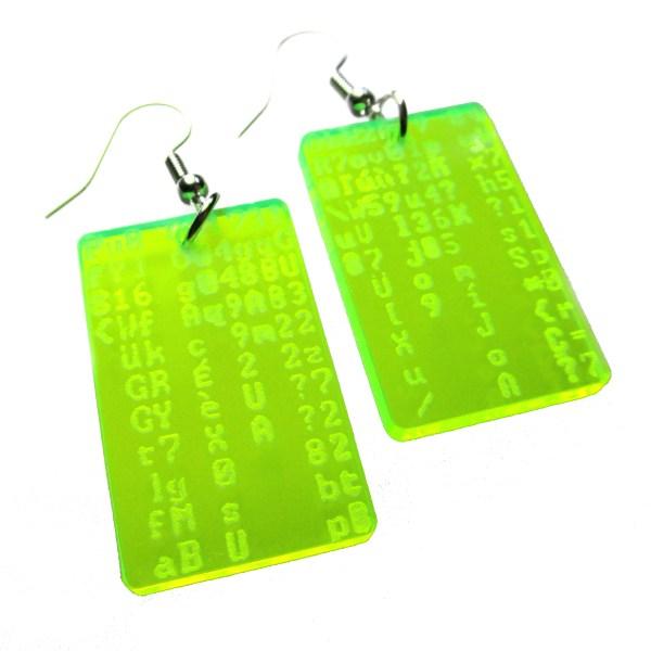 matrix trickle code dangle earrings on white background