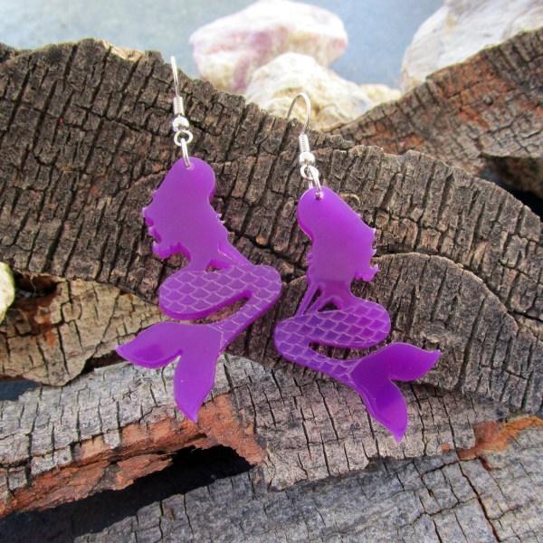 purple mermaid dangle earrings