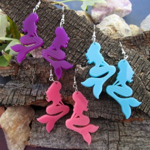 group of colorful mermaid dangle earrings