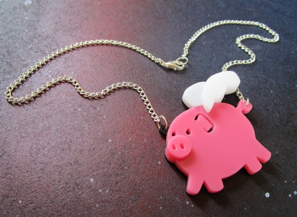 when pigs fly pink pig pendant necklace with silver chain in wing shape