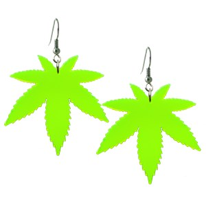 pot leaf marijuana weed stoner dangle earrings big neon raver dangle earrings jewelry
