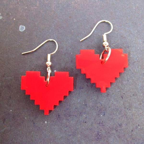 red 8 bit pixel heart dangle earrings