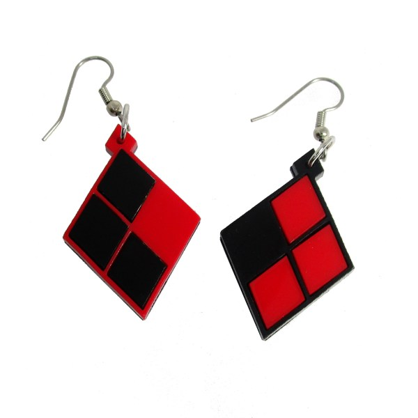reverse color red and black harlequin harley quin diamond pattern costume cosplay dangle statement earrings