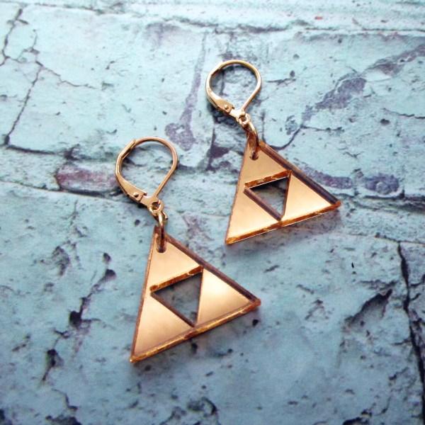 cute little triforce golden zelda cosplay earrings with lever back hooks