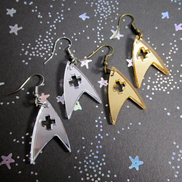 star trek operations engineering or medical badge insignia logo gold or silver dangle earrings cosplay jewelry