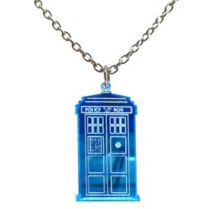 tardis blue poilce box pendant necklace