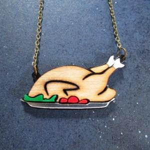 thanksgiving turkey dinner pendant necklace on platter