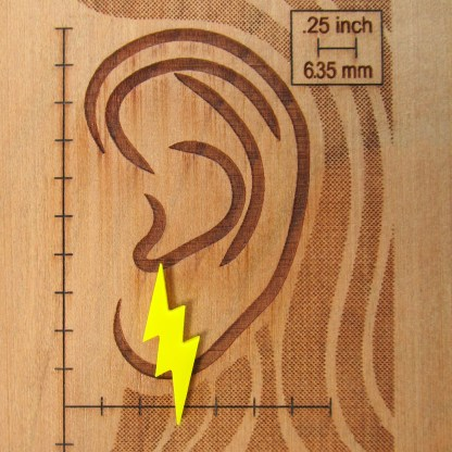 ear diagram with yellow lightning bolt earring to show size