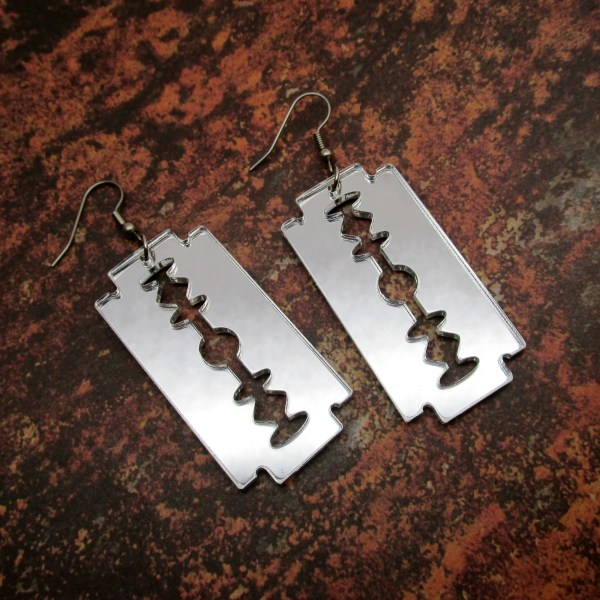 Safety Double Edge Razor Silver Mirror Acrylic Big Huge Razor Goth Dangle Earrings jewelry