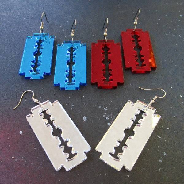 3 pairs of razor blade earrings