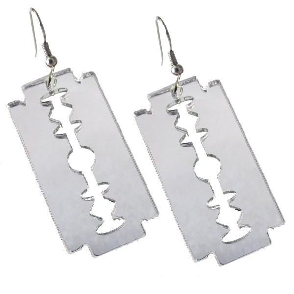 safety edge razor blade cutting knife blades silver mirror dangle earrings jewelry