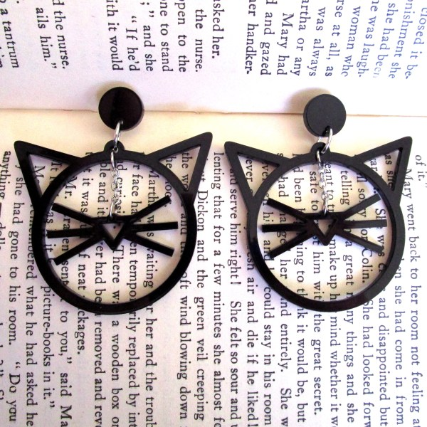 line art cat face dangle earrings on book pages