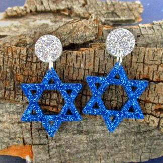 star of david blue and silver glitter dangle statement earrings