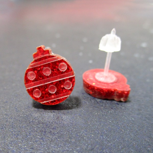 red glitter laser etched ornament stud earrings