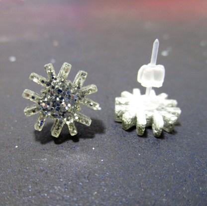 snowflake glitter silver stud earrings