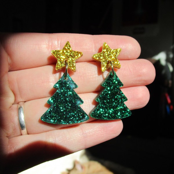 bright glitter shiny christmas tree star earrings