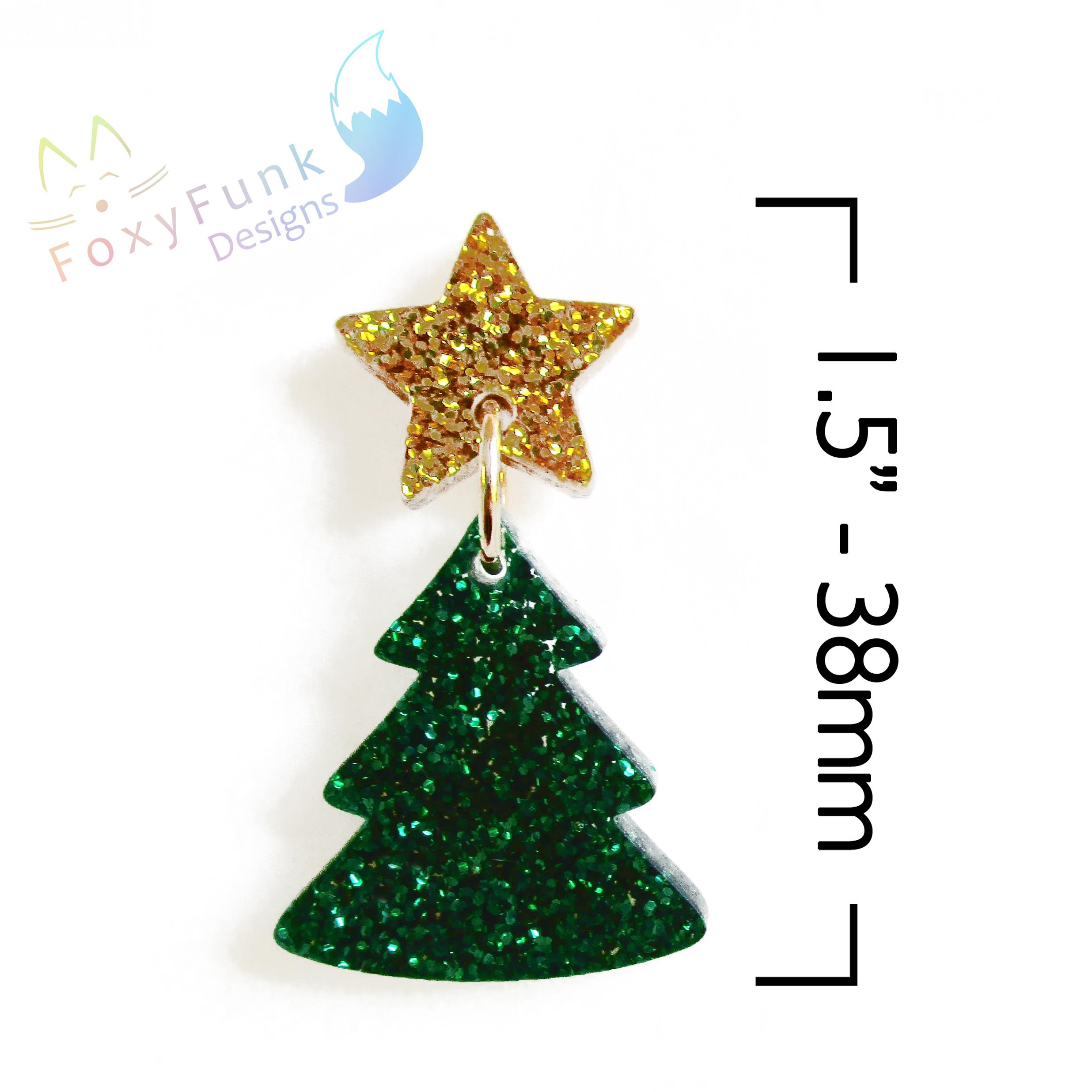 Gold Glitter Star Christmas Tree Stud Dangle Earrings