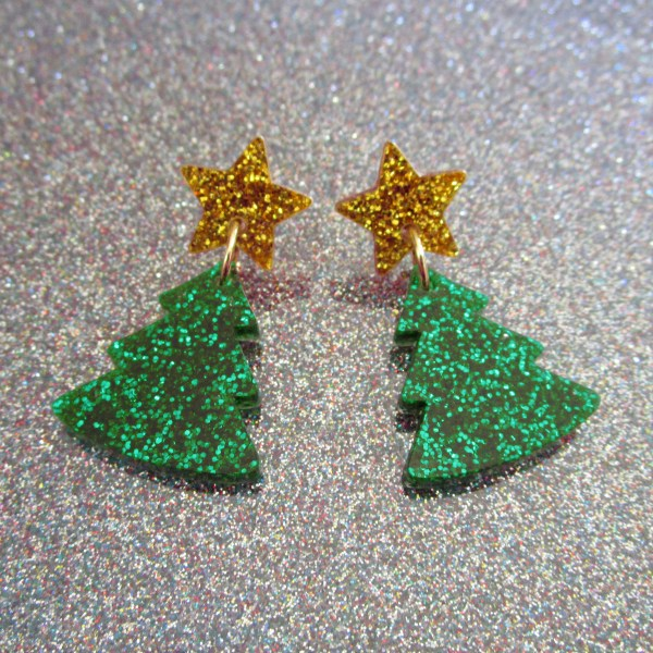 Glitter Green Christmas Tree and Gold Glitter Star Stud Dangle Statement Holiday Earrings on glitter background