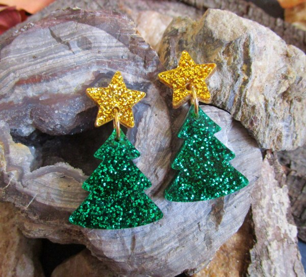 Glitter Green Christmas Tree and Gold Glitter Star Stud Dangle Statement Holiday Earrings