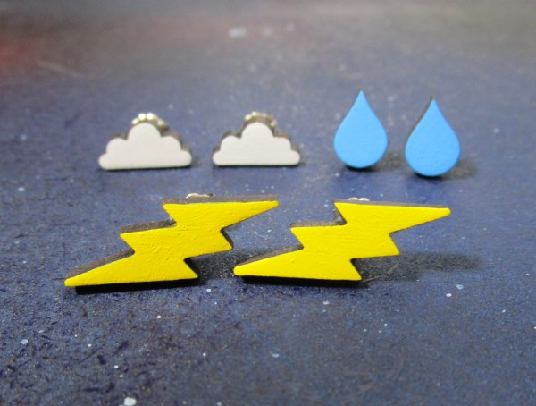 lightning bolt rain drop and cloud stud earrings