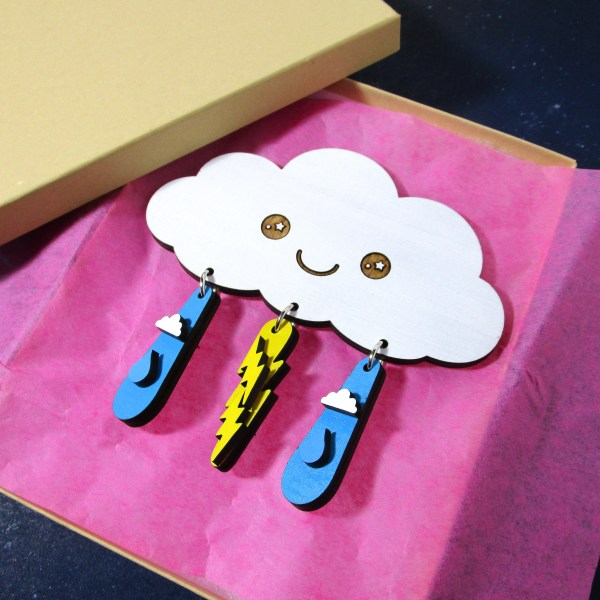 cute cloud jewelry set in box with pink tissue