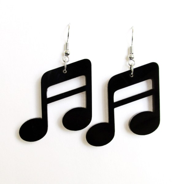 big black sixteenth note earrings