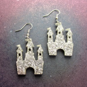 close up of Silver Glitter Magical Princess Castle Earrings