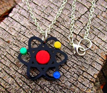 scientific atom replica laser cut necklace