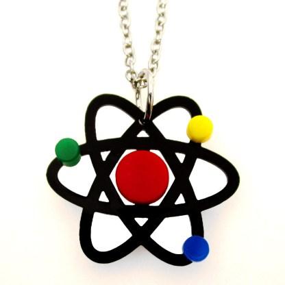 atom particle science representation pendant necklace