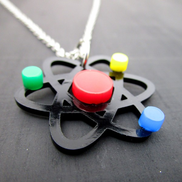 sideways view of pendant necklace od atom representation science necklace