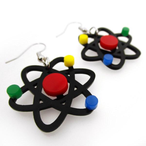 big atom dangle earrings
