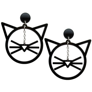 Big Huge Dangling Cat Face Whiskers stud dangle earrings jewelry