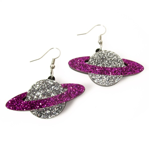 purple and silver glitter saturn galaxy planet dangle earrings