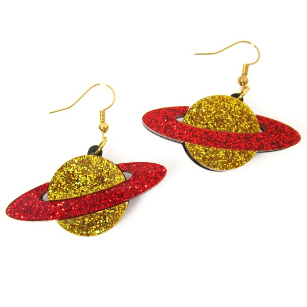 red and gold glitter saturn galaxy planet dangle earrings