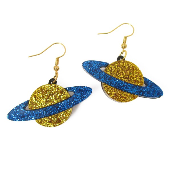 blue and gold glitter saturn galaxy planet dangle earrings