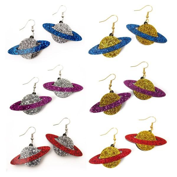 6 pairs of glitter planet earrings