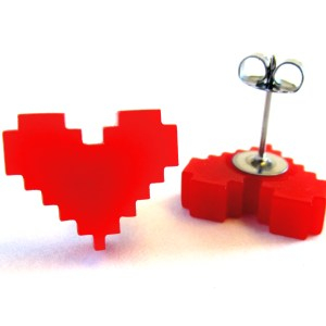 Red Pixel Heart Stud Earrings FoxyFunk Designs