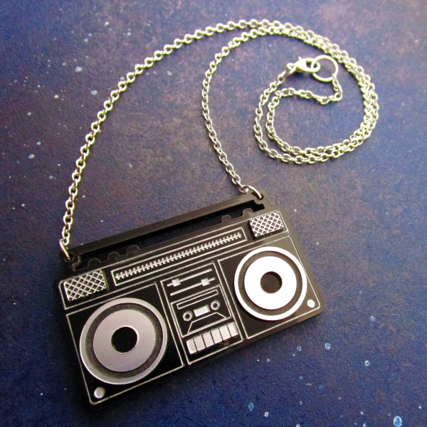 full view of boom box necklace