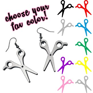 choice of color for scissors pendant earrings