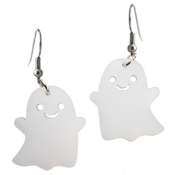 cute little kawaii happy smiley face ghost halloween dangle earrings jewelry