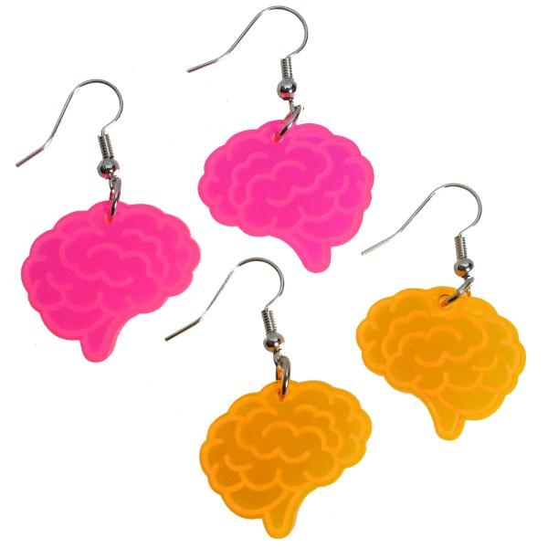 fun neon pink or neon orange brain thinking idea scientist dangle earrings jewelry